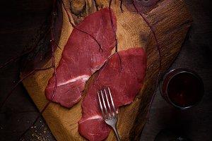 Raw fillet steak,cooking ingredients