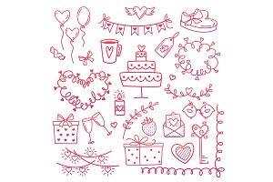 Set of hand drawn doodle love elements for wedding, Valentine s Day card, sticker, stamp design. Vector illustration with heart, love, speech bubble, arrow, lettering text. Hand drawn sketch style.