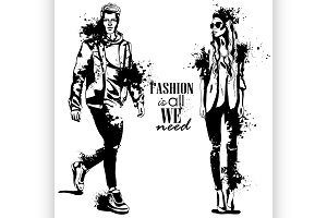 Vector woman and man fashion models