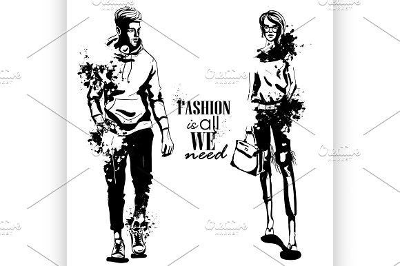 Vector woman and man fashion models in Illustrations