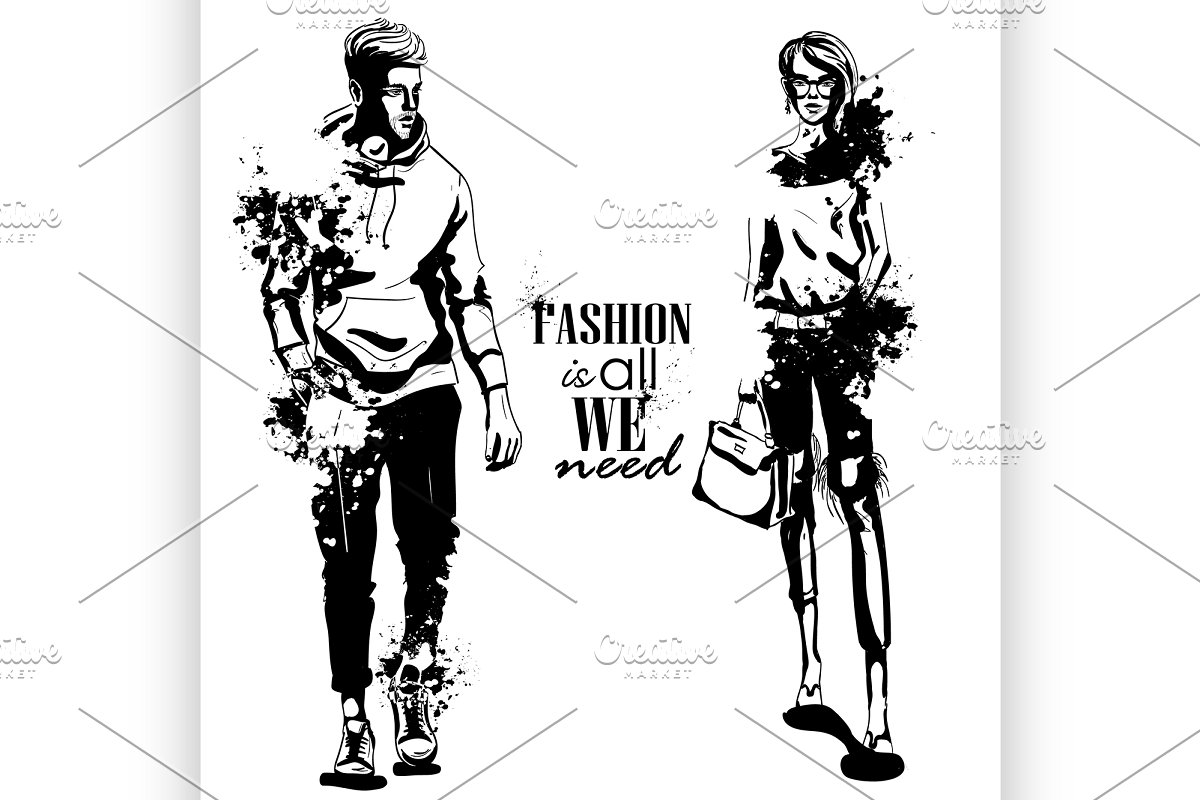 Vector woman and man fashion models in Illustrations - product preview 8