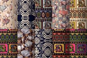 Set of Aztec and Floral Patterns