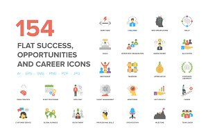 Flat Success and Opportunities Icons