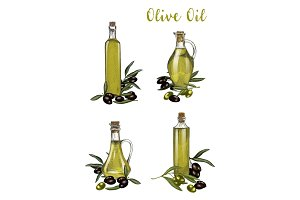 Bottles with olive oil sketches, branch with berry