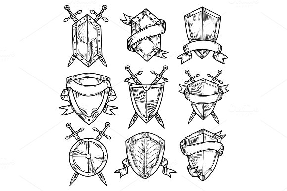 Blank Or Empty Shields With Swords And Ribbons