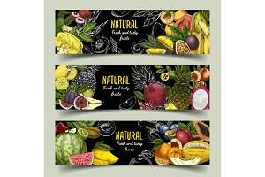 Badges or banners with exotic fruits