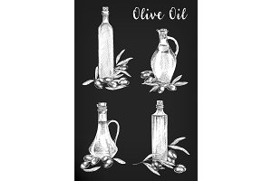 Set of isolated sketches of oil bottles negatives