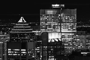 Montreal downtown at night in B&W