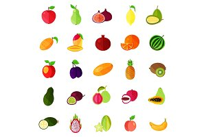 Food fruits like apple and pear, kiwi and orange