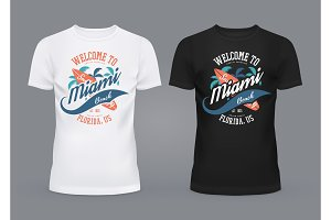 T-shirts with surfer board and palms of Miami