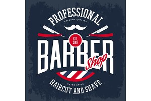 Razor and mustache on barbershop logo or sign