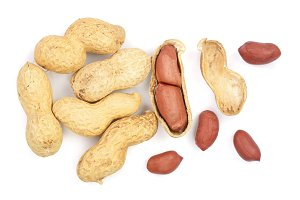 peanuts isolated on white background top view. Flat lay