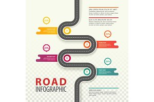 Infographic with top view on road with data