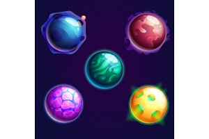 Set of isolated universe planets or cosmos stars