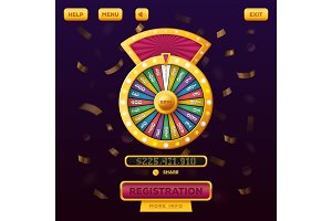 Casino menu web design with wheel of fortune