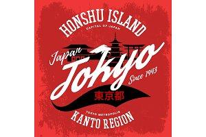 Japan tokyo city sign or banner, honshu island
