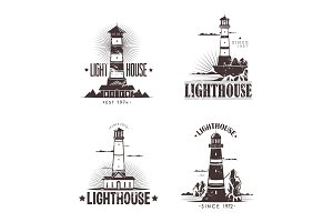 Set of sketches of lighthouses on rocks