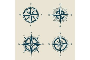 Old or retro compass or vintage wind roses