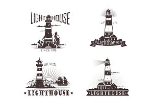 Sketches of lighthouse with lamp on mountain