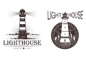 Sketch of lighthouse at port or beacon