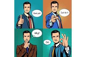 Businessman with different hand gestures