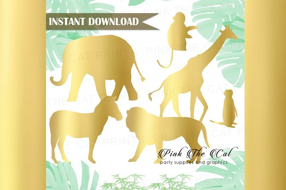 Gold Foil Safari Animals Clipart