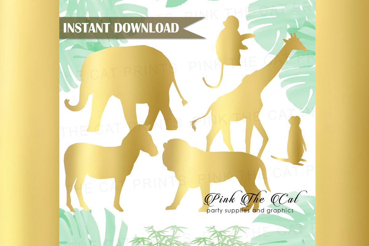 Gold Foil Safari Animals Clipart | Custom-Designed ...