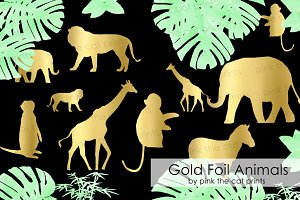 Gold Foil Safari Animals Clipart