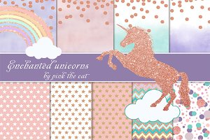 Rose Gold Glitter Unicorn & Papers