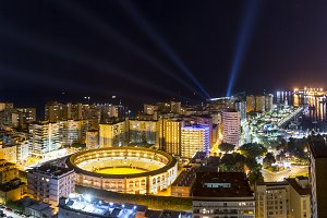 Glowing Colorful Malaga city in nigh