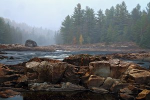 Mountain river in autumn time