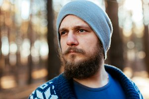 Bearded serious man with mustache