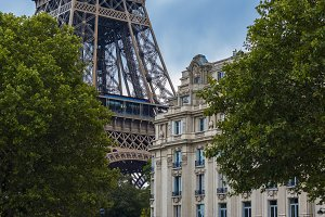 Eiffel tower and old building