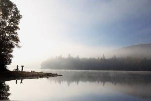 Relaxing morning on lake