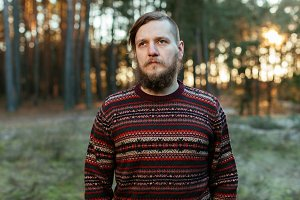 Bearded man wear pullover