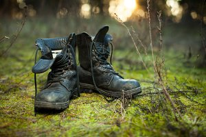 Old leather combat boots.