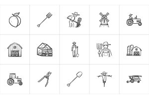 Agriculture hand drawn sketch icon set.