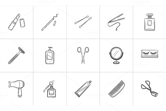 Beauty accessories hand drawn sketch icon set.