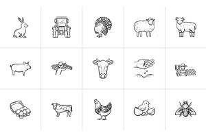 Farm animals hand drawn sketch icon set.