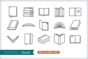 Minimal book icons