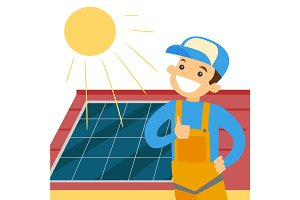 Caucasian white constructor installing solar panel
