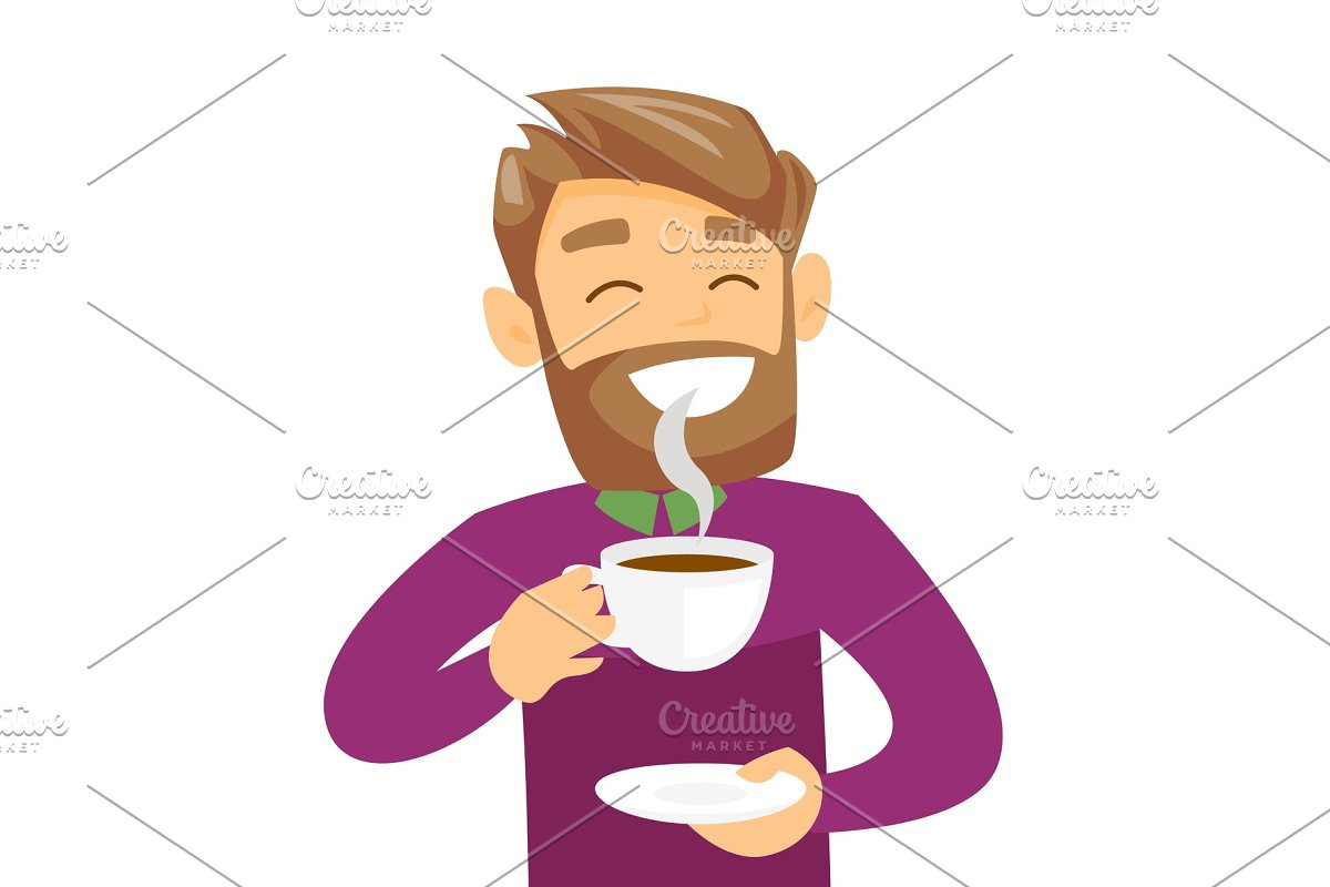 Young caucasian white man enjoying cup of coffee.