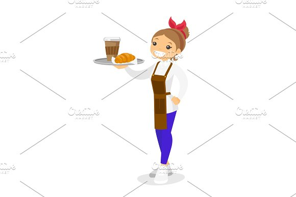 Waitress holding tray with coffee and croissant.