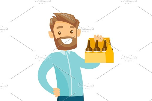 Young caucasian white man with pack of beer.