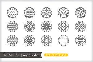Minimal manhole icons