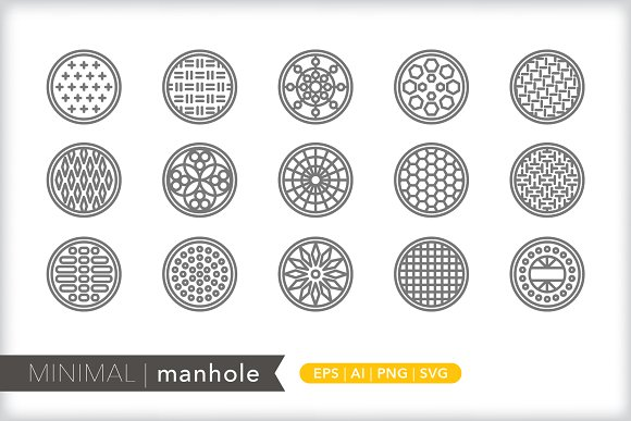 Minimal manhole icons in Graphics