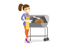 Caucasian woman cooking chicken on the barbecue.