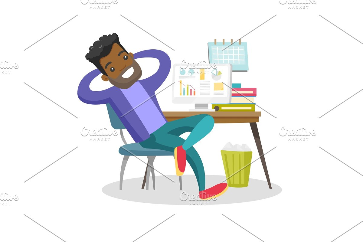 Young african-american employee relaxing in office