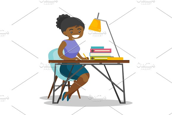 African-american business woman signing documents.