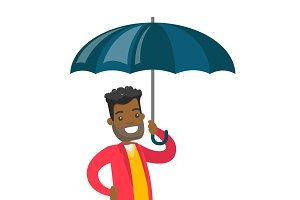 African insurance agent standing under umbrella.